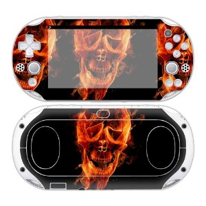 Sony PS Vita 2000 Playstation Skin Design Foils Faceplate Set - Burning Skull Design