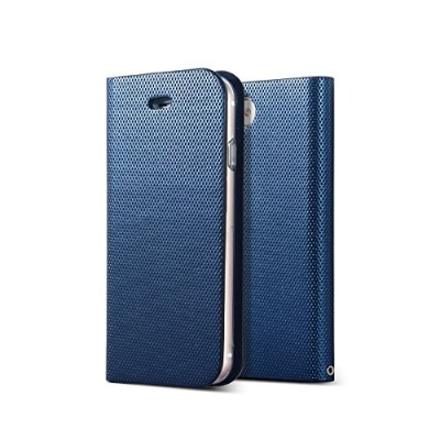 METAL SQUARE DIARY iPhone8 iPhone7 手帳型 ケース (iPhone8/iPhone7専用, ネイビー)