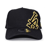 (ニューエラ) NEW ERA LOS ANGELES DODGERS 【D-FRAME TRUCKER MESH CAP BATTALION/BLK-GOLD】 ロサンゼルス ドジャース