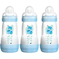 MAM Self Sterilising Anti-Colic Bottle 260 ml (3 Pack Blue/ White)