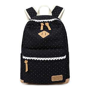 S&D リュックサック 18L おしゃれ バッグ バックパック outdoor backpack women daypack 学生 女子 社員 通学 通勤(42*33*14cm, 圆点 ブラック)