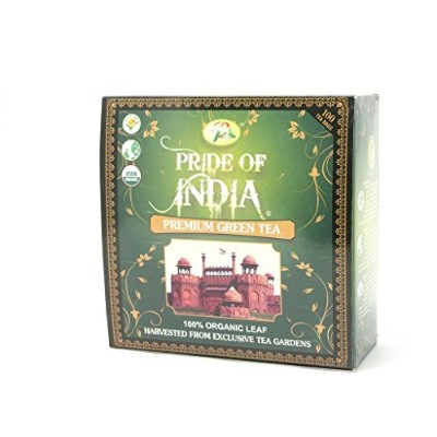 Pride Of India - Organic Bagged Tea Boxes (Organic Indian Green Antioxidant-Rich Tea, 100-Count ...