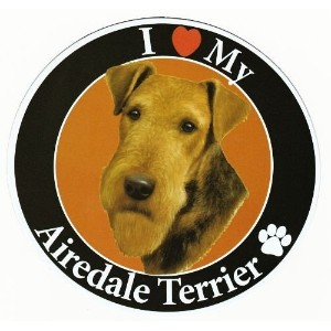 Airedale Terrier サークルマグネットステッカー:エアデールテリア 画像イラスト入り 英語犬種名 Designed in the U.S.A [並行輸入品]