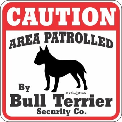 CAUTION AREA PATROLLED By Bull Terrier Security Co. サインボード:ブルテリア [並行輸入品]