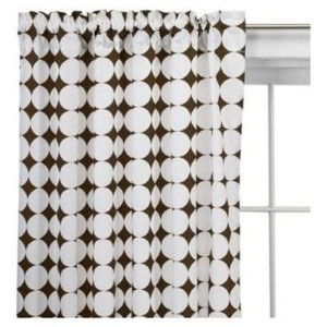 Q Dots white/choc Curtain Panel by Bacati