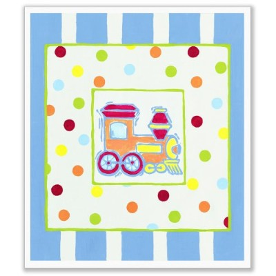 The Kids Room by Stupell Train with Polka Dots and Blue Stripes Rectangle Wall Plaque by The Kids Room by Stupell