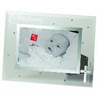 Russ Berrie Small Blessings Christening Glass Photo Frame, Blue by Russ Berrie