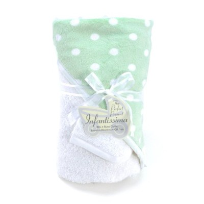 Infantissima Hooded Towel, Minky Green Dot by Infantissima