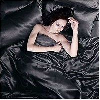 Satin 6 Pcs Silky Sexy Bedding Set Queen / King Duvet Cover Fitted Sheet & 4x Pillowcases 8 Colors ...