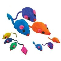 20 x Cat Toy Rainbow Fur Mice That Rattle by Zanies