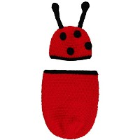 Zhhlaixing ベビー服 Baby Photo Props Infant Red Sleeping Bag Crochet Knitting Costume Clothes Photo...