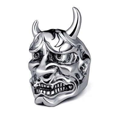 EVBEA hannya Theリングマスク文Biker Cool Devil Cheap Rings for Men