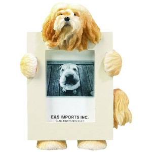 Lhasa Apso Picture Frame Holds Your Favorite 2.5 by 3.5 Inch Photo, Hand Painted Realistic Looking Lhasa Apso Stands 6 Inches Tall Holding Beautifully Crafted Frame, Unique and Special Lhasa Apso Gifts for Lhasa Apso Owners by E&S Pets