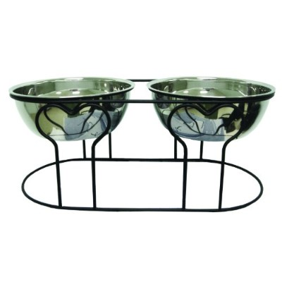 YML 7-Inch Wrought Iron Stand with Double Stainless Steel Feeder Bowls by YML
