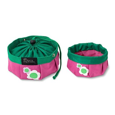 Doggles Dog and Puppy Collapsible Travel Food and Water Bowl LARGE 6 CUP PINK