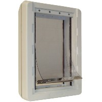 Ideal Pet Products Ruff-Weather Pet Door with Telescoping Frame - White by Ideal Pet Products