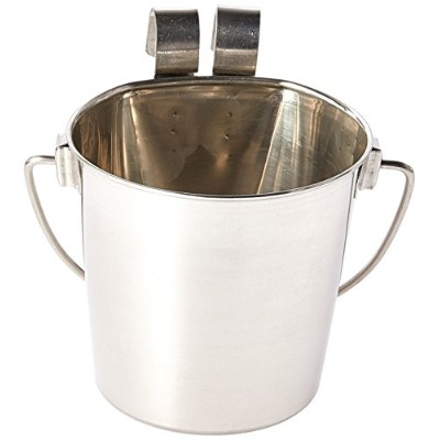 Indipets Heavy Duty Flat Sided Stainless Steel Pail, 1-Quart by Indipets