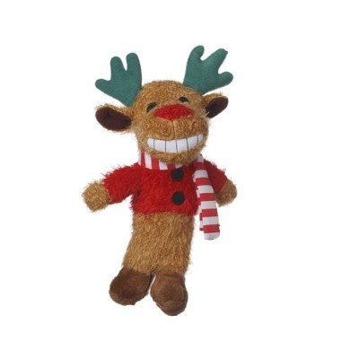 Multipet's 6-Inch Reindeer Loofa Plush Dog Toy That Squeaks by Multi Pet