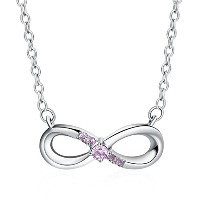 BAMOER Sterling Silver Infinity Necklace For Women 無限の愛 インフィニティ 無限大 数字横8 ペンダント シルバーネックレス ピンクCZ付