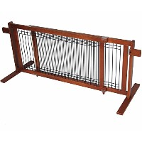 Crown Pet Products 21-Inch High Freestanding Wood/Wire Pet Gate, Large Span Fits Openings 40 to 74...