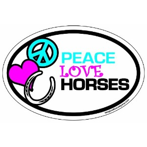 Imagine This 4-Inch by 6-Inch Car Magnet Oval, Peace Love Horses by Imagine This