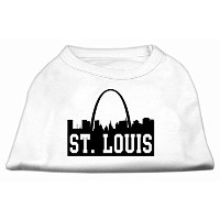 Mirage Pet Products 51-74 MDWT St Louis Skyline Screen Print Shirt White Med - 12
