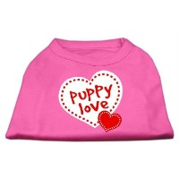 Mirage Pet Products 51-59 SMBPK Puppy Love Screen Print Shirt Bright Pink Sm - 10