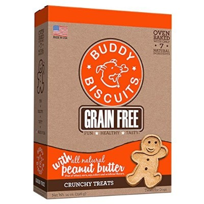 Cloud Star BUDDY BISCUITS Grain Free Oven Baked Dog Treats Homestyle PB 14oz