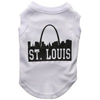 Mirage Pet Products 51-74 SMWT St Louis Skyline Screen Print Shirt White Sm - 10