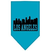 Mirage Pet Products 66-80 SMTQ Los Angeles Skyline Screen Print Bandana Turquoise Small