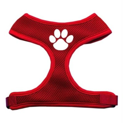 Mirage Pet Products 70-16 LGRD Paw Design Soft Mesh Harnesses Red Large