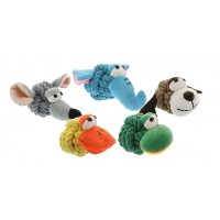 Multipet 4-Inch Rope Head Dog toy with Plush Face by Multi Pet