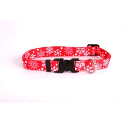 Red Snowflakes Dog Collar - Size Large 18 to 28 Long - Made In The USA by Yellow Dog Design