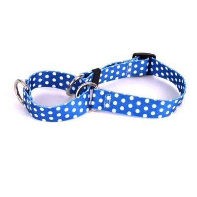 Navy Polka Dot Martingale Control Dog Collar - Size Small 14 Long - Made In The USA by Yellow Dog...