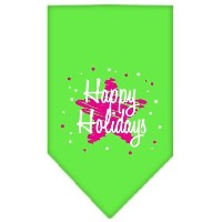 Mirage Pet Products 66-25-16 SMLG Scribble Happy Holidays Screen Print Bandana Lime Green Small