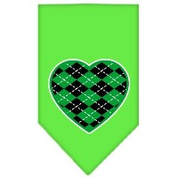 Mirage Pet Products 66-112 SMLG Argyle Heart Green Screen Print Bandana Lime Green Small