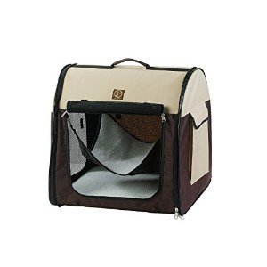 One for Pets Fabric Portable Pet Kennel, Single, Cream/Brown by One for Pets