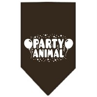 Mirage Pet Products 66-121 LGCO Party Animal Screen Print Bandana Cocoa Large