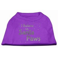 Mirage Pet Products 51-130 MDPR Screenprint Santa Paws Pet Shirt Purple Med - 12