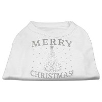 Mirage Pet Products 51-131 XSWT Shimmer Christmas Tree Pet Shirt White XS - 8