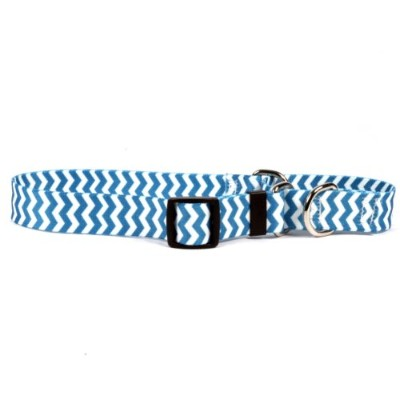 Chevron Blueberry Martingale Control Dog Collar - Size Small 14 Long - Made In The USA by Yellow...