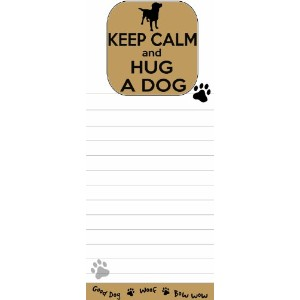 Keep Calm and Hug A Dog Magnetic List Pads Uniquely Shaped Sticky Notepad Measures 8.5 by 3.5 Inches by E&S Pets
