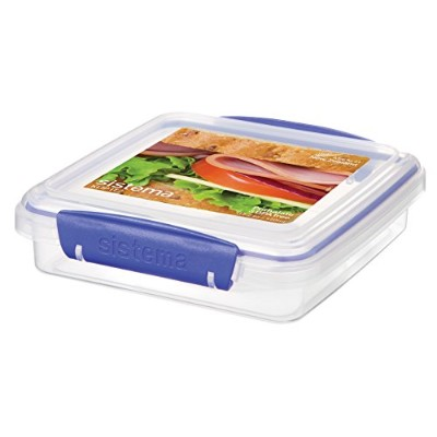 Sistema Klip It Collection Sandwich Box Food Storage Container, 15.2 Ounce/1.9 Cup each by Sistema