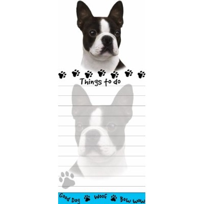 Boston Terrier Magnetic List Pads Uniquely Shaped Sticky Notepad Measures 8.5 by 3.5 Inches by E&S...