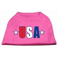 Mirage Pet Products 51-134 SMBPK USA Star Screen Print Shirt Bright Pink Sm - 10