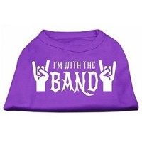 Mirage Pet Products 51-143 MDPR With the Band Screen Print Shirt Purple Med - 12