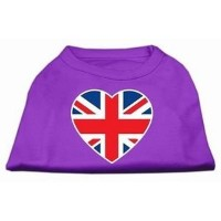 Mirage Pet Products 51-137 SMPR British Flag Heart Screen Print Shirt Purple Sm - 10