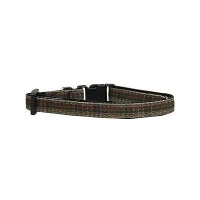 Mirage Pet Products 125-013 CTBR Plaid Nylon Collar Brown Cat Safety