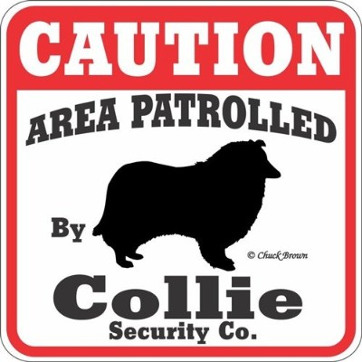 CAUTION AREA PATROLLED By Collie Security Co. サインボード:コリー 注意 警戒中 セキュリティ 看板 Made in U.S.A [並行輸入品]