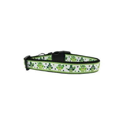 St. Patty's Day Party Owls Nylon Dog Collar Medium